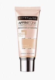 Тональный крем Maybelline New York Affinitone, выравнивающий и увлажняющий, с аргановым маслом, оттенок 03, Светло-бежевый, 30 мл