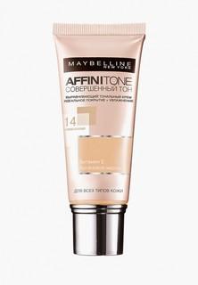 Тональный крем Maybelline New York Affinitone, выравнивающий и увлажняющий, с аргановым маслом, оттенок 14, Кремово-бежевый, 30 мл