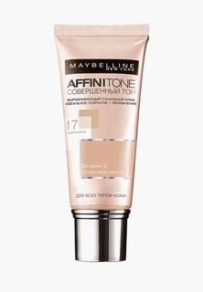 Тональный крем Maybelline New York Affinitone, выравнивающий и увлажняющий, с аргановым маслом, оттенок 17, Розово-бежевый, 30 мл