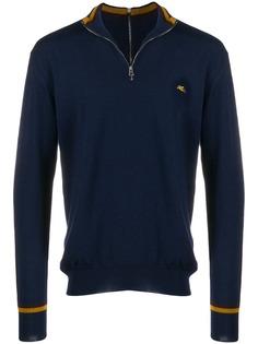 Etro пуловер с воротником на молнии и логотипом