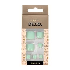 Набор накладных ногтей для педикюра DE.CO. ESSENTIAL Mint 24 шт+ клеевые стикеры 24 шт Deco