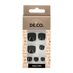 Набор накладных ногтей для педикюра DE.CO. ESSENTIAL Black 24 шт+ клеевые стикеры 24 шт Deco