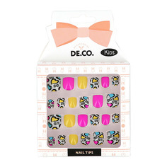 Набор детских накладных ногтей DE.CO. KIDS самоклеящиеся Hearts 24 шт Deco