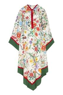 """Платье-кимоно с принтом """"Flora"""" Gucci"""