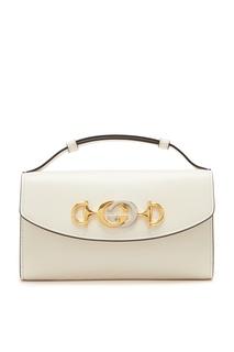 Мини-сумка из гладкой белой кожи Zumi Gucci