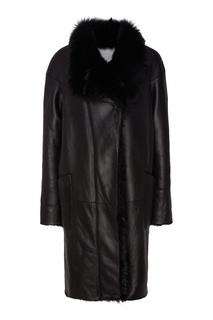 Черная кожаная куртка с мехом Color°Temperature
