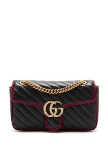 Черная с красным сумка-кроссбоди GG Marmont Gucci