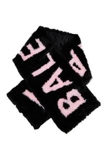 Черный шарф с розовым логотипом Giant Balenciaga