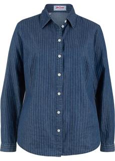 Блузки с длинным рукавом Блузка джинсовая с принтом, длинный рукав Bonprix