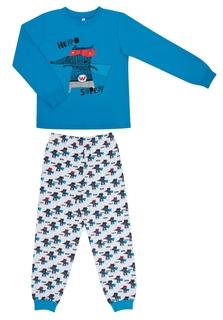 Пижама для мальчика Сновидения голубая/белая с рисунком «волчок» Barkito