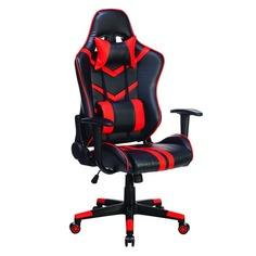 Кресло игровое БЮРОКРАТ СН-789, на колесиках, искусственная кожа, черный/красный [сн-789/bl+r]