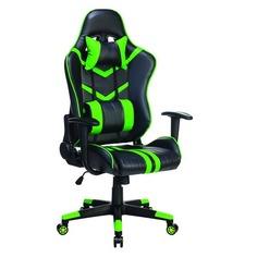 Кресло игровое БЮРОКРАТ СН-789, на колесиках, искусственная кожа, черный/зеленый [сн-789/bl+gr]