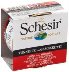 Влажный корм и консервы для кошек Корм для кошек SCHESIR Тунец и креветки 85г