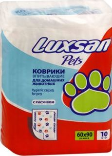 Пеленки, подгузники, салфетки Коврик для кошек и собак Luxsan Premium с рисунком 60х90 см 10 шт