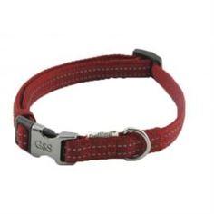 Амуниция Ошейник для собак GREAT&SMALL Со светоотражающей острочкой 10х200-350мм красный