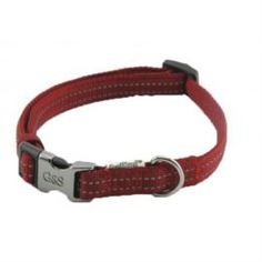Амуниция Ошейник для собак GREAT&SMALL Со светоотражающей острочкой 15х300-450мм красный