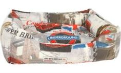 Домики, лежаки, переноски, когтеточки Лежак для собак PRIDE Винтаж Лондон 70x60x23 см