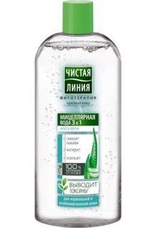 Уход за кожей лица Мицеллярная вода Чистая Линия 3в1 для нормальной и комбинированной кожи 400 мл