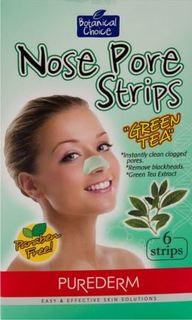 Уход за кожей лица Очищающие полоски Purederm Для носа Зеленый чай 6 шт