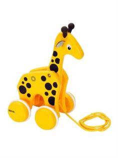 Интерактив обучающий Каталка-жираф 1TOY brio на веревочке