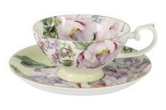 Чайные пары и сервизы Чашка с блюдцем 0.2л жёлтая райский сад Annalafarg
