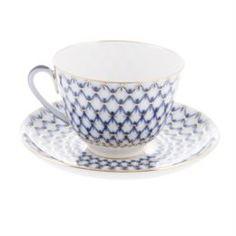 Чайные пары и сервизы Чашка с блюдцем чайные весен кобальт сетка Ифз