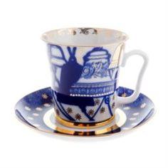 Чайные пары и сервизы Бокал с блюдцем чайный, форма ленинградский - колокола ЛФЗ