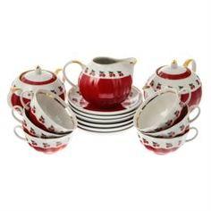 Чайные пары и сервизы Сервиз чайный Дулево Тюльпан брусника 15 предметов 6 персон