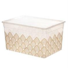 Емкости для хранения Коробка для хранения прозрачная с рисунком 16л Полимербыт
