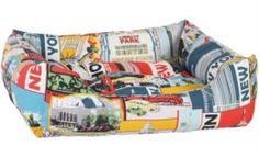 Домики, лежаки, переноски, когтеточки Лежак для собак PRIDE Винтаж Нью-Йорк 60x50x18 см