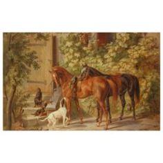 Настенные декоративные украшения Картина Лошади у крыльца 50х62,5 см