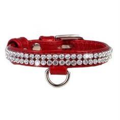 Амуниция Ошейник для собак CoLLaR Brilliance Красный со стразами 19-25 см