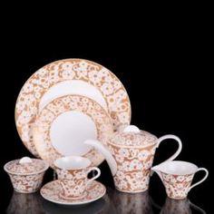 Чайные пары и сервизы Сервиз чайный Cacharel Дентель Голд 16 предметов Hankook/Cacharel