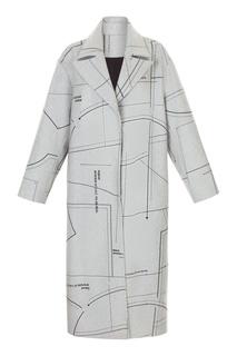 Серое пальто с принтом в виде выкройки Ruban