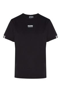 Черная футболка с двойным логотипом Adidas