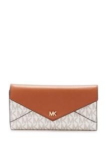 Бело-коричневый кошелек Money Pieces Michael Kors