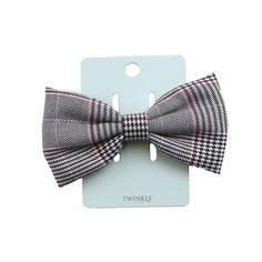 TWINKLE Заколка для волос с бантом Gray Checker