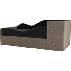 Детская кровать АртМебель Дельта велюр серый/бежевый левый угол