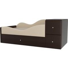 Детская кровать АртМебель Дельта эко кожа бежевый/коричневый левый угол