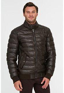 Стеганая кожаная куртка с отделкой трикотажем Urban Fashion for men