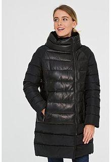 Утепленная кожаная куртка со съемным воротником La Reine Blanche