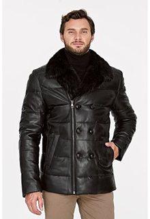 Утепленная кожаная куртка с отделкой мехом бобра Al Franco