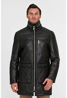 Утепленная кожаная куртка с отделкой овчиной Al Franco