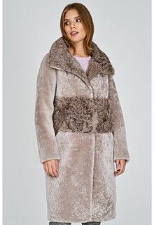 Шуба из овчины с отделкой овчиной калган Virtuale Fur Collection