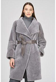 Пальто из овчины с поясом Virtuale Fur Collection