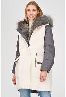Комбинированная шуба из овчины и текстиля Virtuale Fur Collection