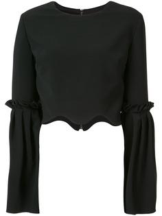 Christian Siriano укороченная креповая блузка с волнистыми краями