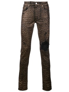 Amiri джинсы с леопардовым принтом