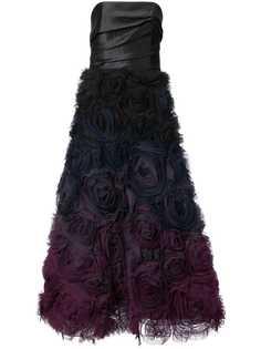 Marchesa Notte вечернее платье с аппликациями-розами