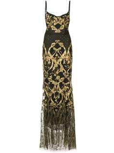 Marchesa Notte платье-корсет с вышивкой